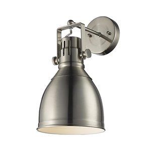 Lucid Lighting 6.0-in W 1-Light Brushed nickel Industrial Directional Hardwired Wall Sconce