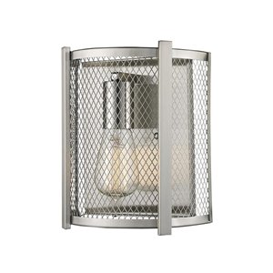 Lucid Lighting 8.0-in W 1-Light Brushed nickel Industrial Ambient Hardwired Wall Sconce