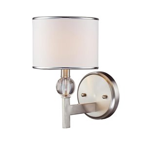 Lucid Lighting 6.5-in W 1-Light Brushed nickel Arm Hardwired Wall Sconce
