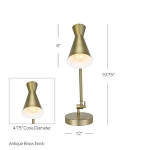 Catalina 19.75-in Adjustable Cone Desk Lamp with Metal Shade
