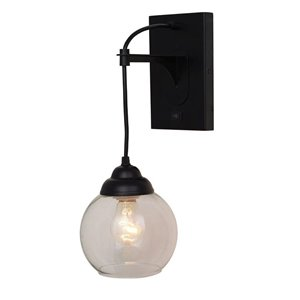 Catalina Weston 11.5-in W 1-Light Matte Black Ambient Hardwired/Plug-in Wall Sconce