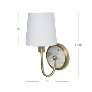 Catalina Aubrey 8.27-in W 1-Light Off-White Chrome Ambient Hardwired/Plug-in Wall Sconce