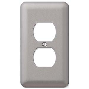 Amerelle Devon 1-Gang Duplex Receptacle Wall Plate (Brushed Nickel)