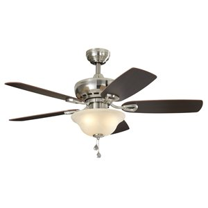 Prominence Home Balsam Creek 44-in Brushed Nickel LED Indoor Residential Ceiling Fan with Light Kit Included (5-Blade)