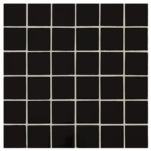 American Olean 12-in x 12-in Starting Line Gloss Black Uniform Squares Mosaic Ceramic Wall Tile