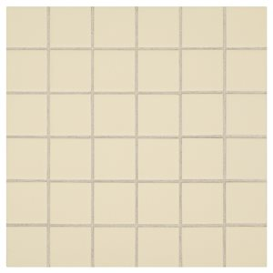 American Olean 12-in x 12-in Starting Line Gloss Biscuit Uniform Squares Mosaic Ceramic Wall Tile