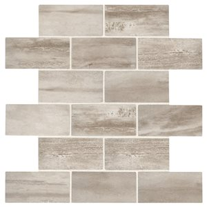American Olean 12-in x 12-in Westbend Soft Taupe Brick Mosaic Ceramic Floor and Wall Tile