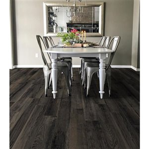 DELLA TORRE 8-in x 48-in Casele Black Wood Look Porcelain Floor and Wall Tile