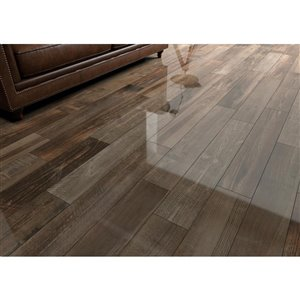 Euro Collection 6-in x 39-in Mono Serra Bistro Brown Wood-Look Porcelain Floor and Wall Tile