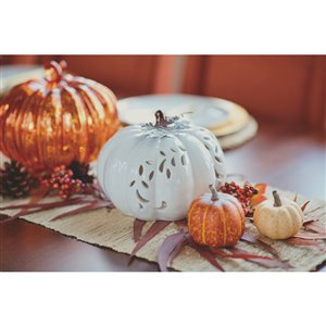 Holiday Living 6.5-in White Incandescent Ceramic Pumpkin