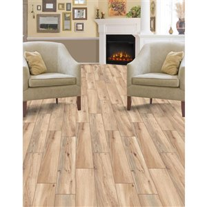 Style Selections 6-in x 24-in Elegant Wood Natural Wood Look Porcelain Floor and Wall Tile