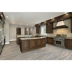Style Selections 6-in x 36-in Shiny Wood Oak Grey Wood Look Porcelain Floor and Wall Tile