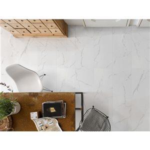 Faber 12x24 Polished Carrara White Porcelain Floor & Wall Tile