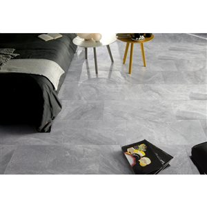 Faber 12-in x 24-in Polished Porcelain Tile Polished-Silver Grey Porcelain Floor and Wall Tile