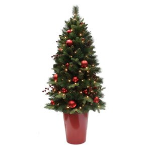 Holiday Living 5-ft Vancouver Pine Potted Incandescent ...