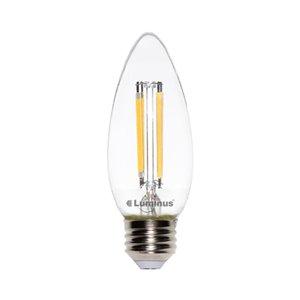 Luminus 60-Watt/500 Lumens Medium Base (E-26) Dimmable Candle LED Light Bulb (2-Pack)