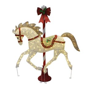 5-ft Twinkling Warm White LED Carousel Horse