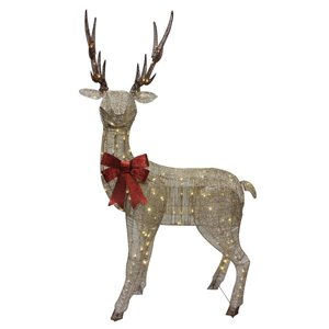 86-in Warm White LED Mesh Reindeer