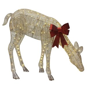 4-ft Twinkling Warm White LED Mesh Deer
