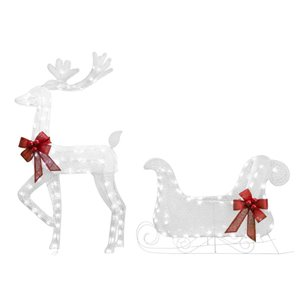 52-in Twinkling Cool White LED Reindeer With Sled
