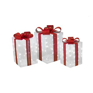 3-Pack Cool White LED Ice Mesh Outdoor Christmas Gift Boxes