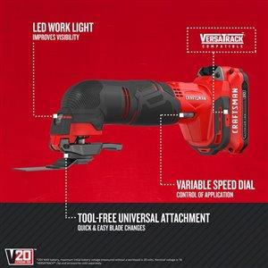 CRAFTSMAN 20-Volt MAX Lithium-Ion Cordless Oscillating Tool Kit