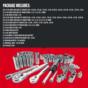 CRAFTSMAN 83-Piece Standard (SAE) and Metric Mechanic's Tool Set