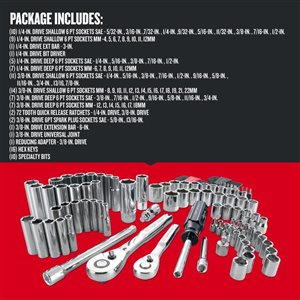CRAFTSMAN 105-Piece Standard (SAE) and Metric Mechanic's Tool Set with Hard