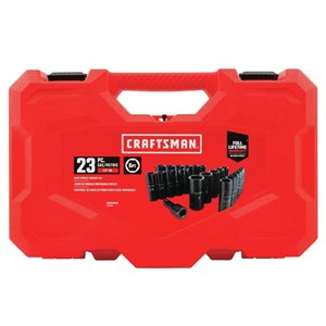 CRAFTSMAN 23-Piece 1/2-in Drive Deep 6-Point Standard and Metric Combination Impact Socket Set