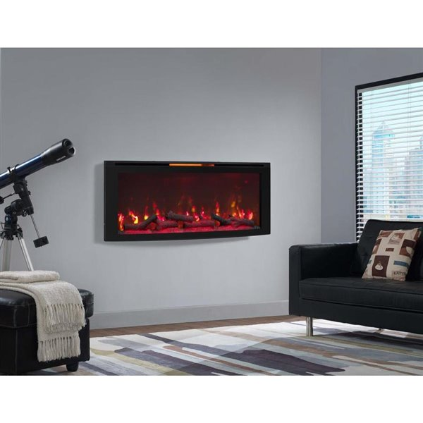 Chimney Free 48 In Wall Mounted Infrared Quartz Electric Fireplace With Display Stand Black Lowe S Canada