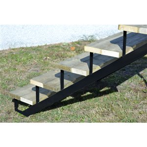 5-Step Black Painted Steel Stair Riser