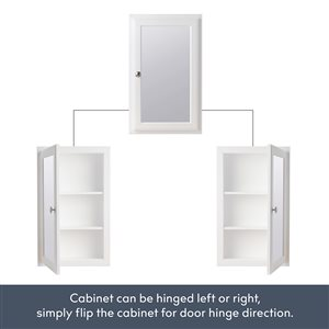 Style Selections 15.75-in x 25.75-in Rectangle Recessed Medicine Cabinet with Mirror