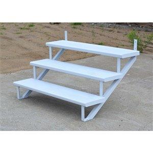 3-Step White Painted Aluminum Stair Riser