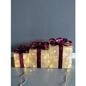 3-Pack Warm White LED Wire Outdoor Christmas Gift Boxes