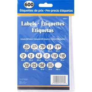 Hillman Assorted Price Labels (600-Pack)