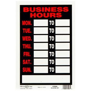 Hillman 12-in x 8-in Business Hours Sign