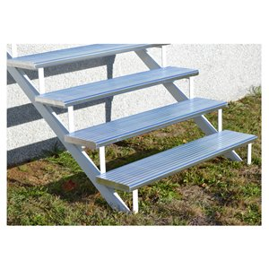 4-Step White Painted Aluminum Stair Riser
