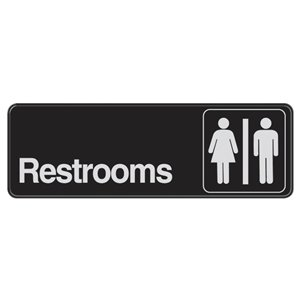 3-in x 9-in Restrooms Sign