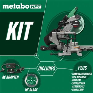 Metabo HPT (was Hitachi Power Tools) 10-in 15-Amp Dual-Bevel Sliding Laser Compound Miter Saw