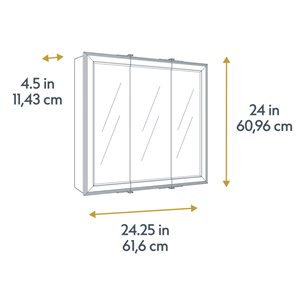 Style Selections 24.25-in x 24-in Square Surface Medicine Cabinet with Mirror