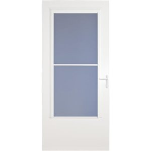 LARSON 36-in Concord White Mid-View Wood Core Storm Door