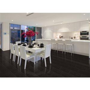 Faber 12-in x 24-in Black Quartz Porcelain Floor & Wall Tile