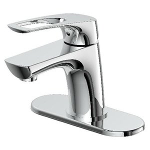AquaSource Chrome 1-Handle Single Hole 4-in Centerset WaterSense Bathroom Sink Faucet with Drain (Valve Included)