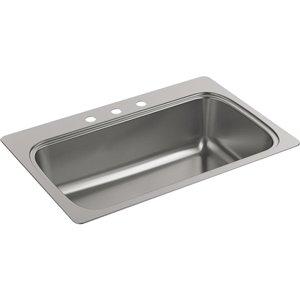 KOHLER Verse 22.0 x 33.0 Stainless Steel Single-Basin Drop-in 3-Hole Kitchen Sink