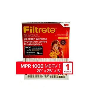 3M 20-in x 25-in x 5-in 1000 MRP Mirco Allergen Defense Electrostatic Deep Pleated Air Filter