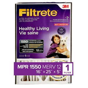 3M 16-in x 25-in x 5-in 1550 MRP Healthy Living Ultra Allergen Electrostatic Deep Pleated Air Filter
