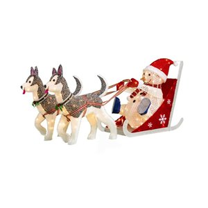 26-in White Incandescent Snowman With Husky Sled