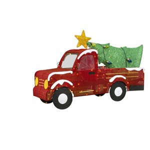 33-in Multicolour Incandescent Red Truck With Christmas Tree