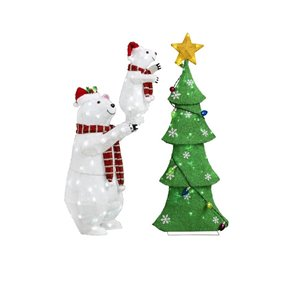4-ft Twinkling Cool White LED Polar Bear And Cub With Tree