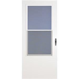 LARSON Bismarck White Mid-View Wood Core Storm Door (Common: 34-in x 81-in; Actual: 33.75-in x 79.875-in)